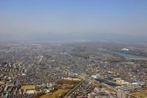 東村山上空から東大和、武蔵村山を臨む